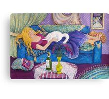 Young Woman Sleeping Canvas Print