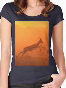 Springbok - Jumping for Gold - African Wildlife Women's Fitted Scoop T-Shirt