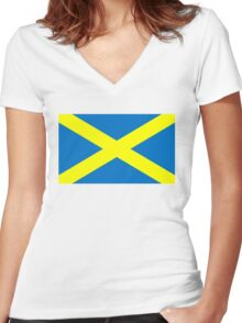Saint Alban Cross Women's Fitted V-Neck T-Shirt