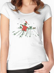 red scarecrow red crow Women's Fitted Scoop T-Shirt