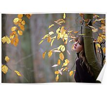 Linda and the birch tree in atumn Poster