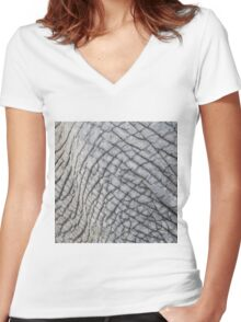 Elephant Skin - Natural Patterns and Textures Women's Fitted V-Neck T-Shirt
