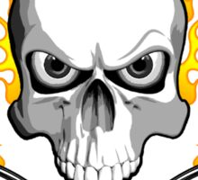 Flaming Skull and Whisks Sticker