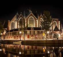 Amsterdam night: The Oude Church by enolabrain