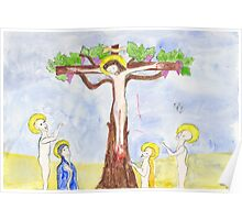 Crucifixion with vine tree Poster