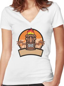 Tiki Vector Women's Fitted V-Neck T-Shirt