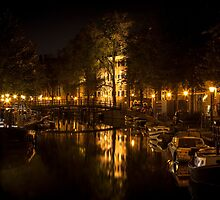 Amsterdam night: lights and canal by enolabrain