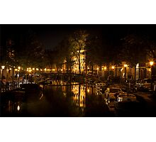 Amsterdam night: lights and canal Photographic Print