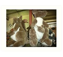 Kangaroos & Joeys Creswick Knitting Mills - Vic. Art Print