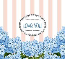 Purple Blue Hydrangea Florals by Tee Brain Creative