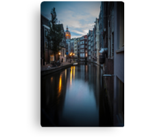 Canal in Amsterdam, early morning Canvas Print