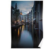 Canal in Amsterdam, early morning Poster