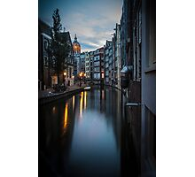 Canal in Amsterdam, early morning Photographic Print