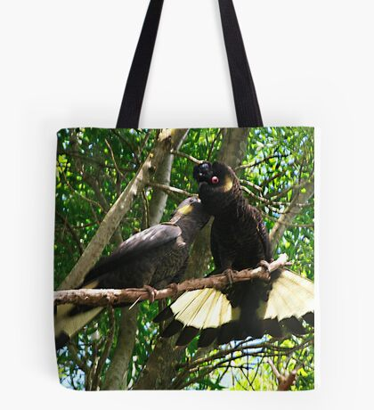 Yellow-Tailed Black Cockatoo - Male Adult & Young Tote Bag