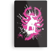 My hands are dirty Pink and White Metal Print
