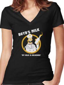 Boyd's Milk Women's Fitted V-Neck T-Shirt