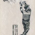 Eureka Cricket - Brendon McCullum sketch drawing by Paulette Farrell