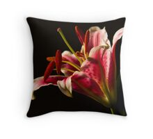 Red Stargazer Lily Close Up  Throw Pillow