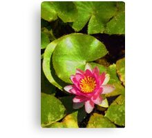 Pretty in Pink - a Waterlily Impression - Vertical Canvas Print