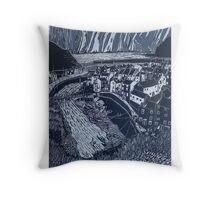 Staithes, Lino Reduction Throw Pillow
