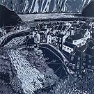 Staithes, Lino Reduction by Sue Nichol