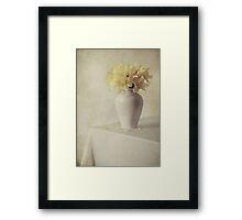 Daffodils in white flower pot Framed Print