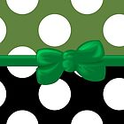 Ribbon, Bow, Polka Dots - Black Green White by sitnica