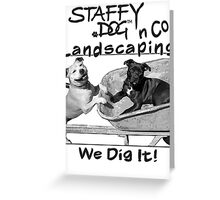 Staffy Dog n Co Landscaping. Greeting Card