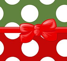 Ribbon, Bow, Polka Dots - White Green Red by sitnica