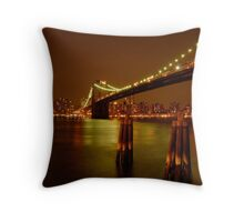 Pilings In East River New York Throw Pillow