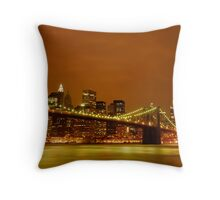 Fiery Sky over New York City Throw Pillow