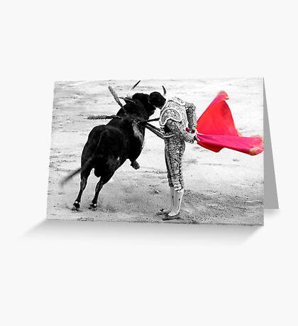 Matador and Bull. 4 Greeting Card