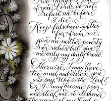 Two things I ask Proverbs verse calligraphy art  by Melissa Goza