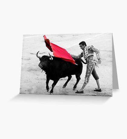 Matador and Bull. 5 Greeting Card