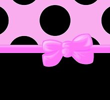 Polka Dots, Ribbon and Bow, Black Pink  by sitnica