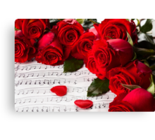 Roses and music! Canvas Print