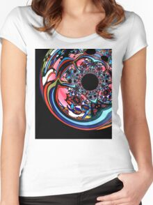 Rose contemporary abstract art red black floral design Women's Fitted Scoop T-Shirt