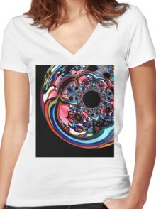 Rose contemporary abstract art red black floral design Women's Fitted V-Neck T-Shirt