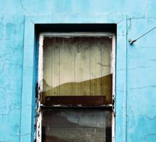 Window on Blue Sticker