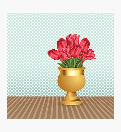 Bouquet of tulips in vase Photographic Print