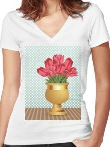 Bouquet of tulips in vase Women's Fitted V-Neck T-Shirt