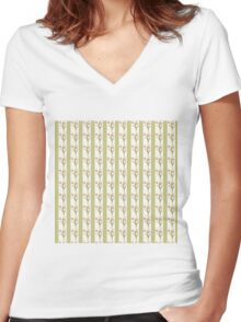 Green Stripes and Tulips Women's Fitted V-Neck T-Shirt