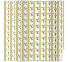Green Stripes and Tulips Poster