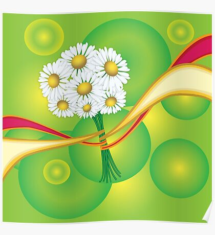 Chamomile with yellow and red ribbon Poster
