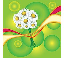 Chamomile with yellow and red ribbon Photographic Print