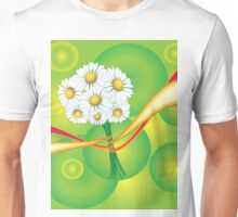 Chamomile with yellow and red ribbon Unisex T-Shirt