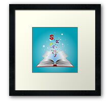 Opened book with letters Framed Print