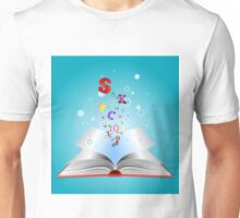 Opened book with letters Unisex T-Shirt