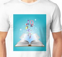 Opened book with letters 2 Unisex T-Shirt