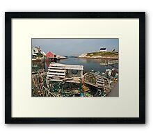 Peggy's cove through a lobster trap Framed Print